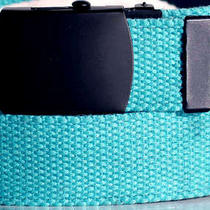 Canvas Aqua Military Style Web Fabric Belt Black Metal Buckle 41