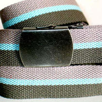 Canvas Gray Aqua Olive Military Web Fabric Belt Gun Metal Buckle 47