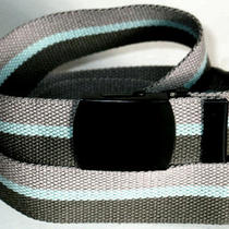 Canvas Gray Aqua Olive Military Web Fabric Style Belt Black Buckle 47