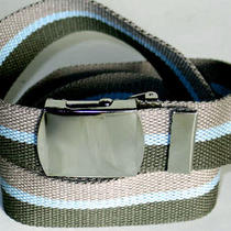 Canvas Gray Olive Aqua Military Style Web Fabric Belt Silver Buckle 47