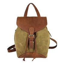 Canvas Leather Backpack Bag Women Rucksack Handbag Shoulder Bags Small 12 In Photo