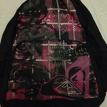 Canvas Roxy Backpack Black and Fun Writing Design Photo