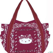 Canvas Tote Bag Hello Kitty Exotic Gorgeous L Big Baloon Paisley Gray Navy Photo