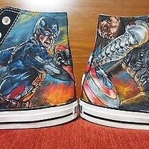 Captain America Hand Painted Vintage Converse Sneakers Shoes Custom Designed 88 Photo
