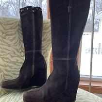 Car Shoe  by Prada Suede Knee High Wedge Boots Women Size 9.5 Photo