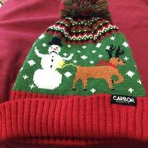 Carbon Elements Knit Beanie Ski Hat Reindeer Peeing on Snowman Onesize Red/green Photo