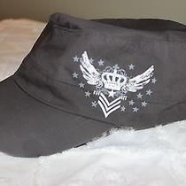 Carbon Elements Soft Army Cap Hat Charcoal L/ Xl Cotton Wings Stars Free Ship Photo