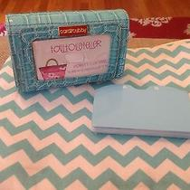 Card Cubby Faux Croc Aqua Gift Business Credit Card Holder Organizer Wallet New Photo