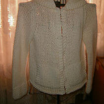 Cardigan Express Handknit Solid Ivory Ls Sweater Size M 85% Acrylic 15% Wool Photo