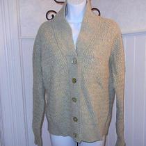 Cardigan Sweater 100% Lambs Wool Carole Little Shawl Celery Sage Green Xl Raglan Photo