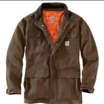 Carhartt 103289 Men's Brown Coffee Field Coat M Removable Hunter Orange Liner Photo