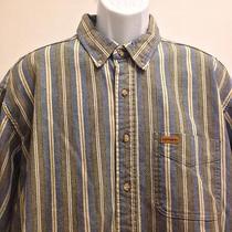 Carhartt 2xl Men's Shirt Rugged Outdoor Wear Gray Blue Striped  Photo