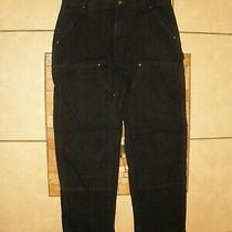 Carhartt B01 Blk Black Double Front Duck Canvas Work Pants Usa Made 36 X 32 Euc Photo