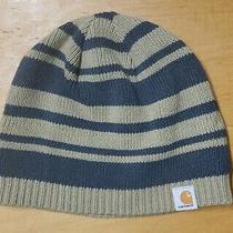 Carhartt Beanie Knit Unisex One Size Cap Warm Winter Hat Striped Fleece Lined Photo