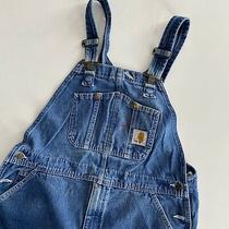 Carhartt Bib Overalls Workwear Pants Size 38 X 30 Denim Blue Jean R07-Drs Photo