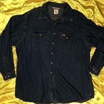 Carhartt Blue Denim Button Front Pockets Work Shirt Size 2xl Mens Photo