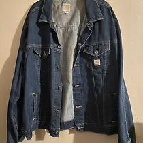Carhartt  Blue Jean Trucker Jacket 4 Pocket Mens Size Xxl Reg Photo
