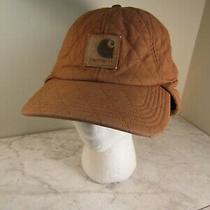Carhartt Brown Logo Cotton/spandex Quilted Ear Flap Baseball Cap Hat Adj  Photo