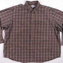 Carhartt Brown Outdoors Plaid Button Up Shirt Work Grunge Sportsman Mens 3xl Euc Photo