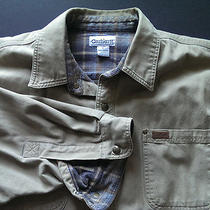 Carhartt Canvas Flannel Lined Button Barn Work Shirt Jacket Large L Excellent Photo
