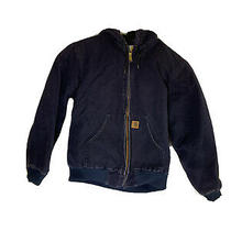 Carhartt Canvas Hooded Work Jacket Mens Size Mx Coat  Rn14806 Insulated Blue Photo