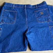 Carhartt Carpenter Jeans Mens Blue Distressed Size 44x31 Dungaree Fit Denim Photo