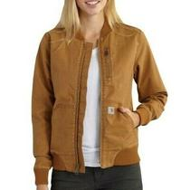 Carhartt Crawford Bomber Jacket Tan Coat Rugged Flex Mesh Lining Pockets Size Xs Photo