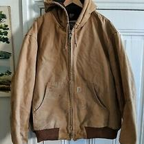 Carhartt Distressed Hooded Brn Arctic Quilted Duck Canvas Work Jacket Sz 2xl  Photo