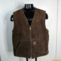 Carhartt Duck Cotton Denim Work Vest Mens Size L Brown Pile Lined Photo