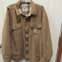 Carhartt Flannel Lined Canvas Lightweight Jacket Tan Men's Size 2xl  Photo