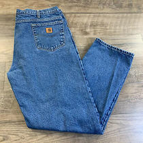 Carhartt Flannel Lined Relaxed Fit Blue Jeans B172 Dst Size 40x34 Photo