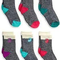 Carhartt Girls' Little Camp Crew Sock-6 Pair Pack Natural Blue Size 4.0 5nau Photo