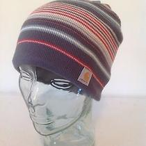 Carhartt Gray Striped Knit Lined Sock Watch Cap Hat Beanie New With Tags Photo