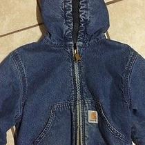 Carhartt Hooded Blue Denim Work / Barn Jacket Size 4t Guc Photo