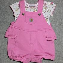 Carhartt Infant Girls Soft 3 P/c Pink Horse Bodysuit Romper W/socks Sz 6/m Nwt Photo