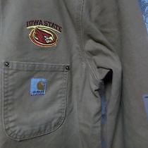Carhartt Iowa State Brown Tan Duck Canvas Barn Chore Jacket Coat Mens Medium Photo