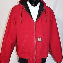 Carhartt J131 Duck Lined Hooded Jacket Mens Large Kansas City Chiefs Red   Photo