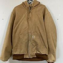 Carhartt J131 Thermal Lined Tan Hooded Duck Work Jacket Coat Large Tall Photo
