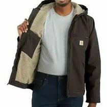 Carhartt J141 Sherpa Lined Hooded Jacket Duck Canvas Brown Mens Med  Photo