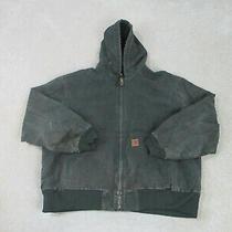 Carhartt Jacket Adult 2xl Xxl Green Gray Work Wear Hoodie Heavy Duty Coat Mens  Photo