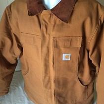 Carhartt Jacket Sz 50 Men's Brown Quilt Lined Cotton Duck Coat Brown Like New Photo