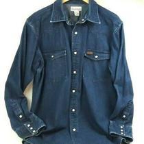 Carhartt L Western Pearl Snap Denim Work Shirt L/s Dark Blue Jean Heavy Cotton  Photo