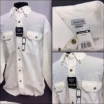 Carhartt Long Sleeve Shirt Large White 100% Cotton Dual Pockets Nwt (F9) Ygi Photo