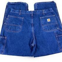 Carhartt Men's Flame Resistant Fr Original Fit Carpenter Blue Jeans 40x30 Photo