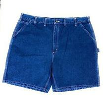Carhartt Men's Flat Front Carpenter 100% Cotton Denim Blue Jean Shorts 44 Photo