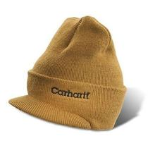Carhartt Men's Knit Hat With Visor One Size Fits Durable and Comfortable Brown Photo