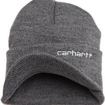 Carhartt Men's Knit Hat With Visor One Size Fits Durable and Comfortable Grey Photo