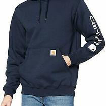 Carhartt Men's Signature Sleeve Logo Hooded Sweatshirt New Navy Size Small Jpo Photo