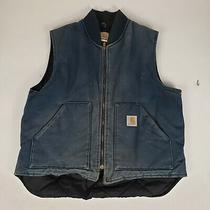 Carhartt Mens Blue Large Work Vest Vintage Made in Usa Workwear Photo