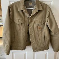 Carhartt Mens Coat Brown Size Large Button Up J233 Photo